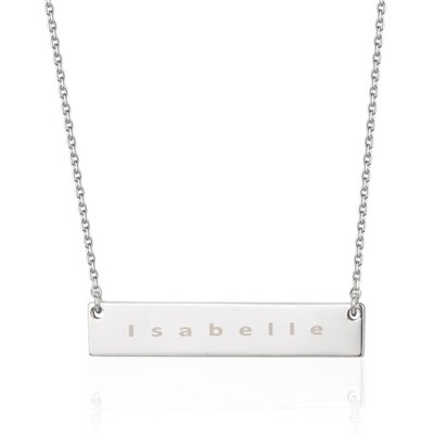 Sterling Silver Horizontal Bar Personalised Name Necklace, Mylee London by The Carat Shop