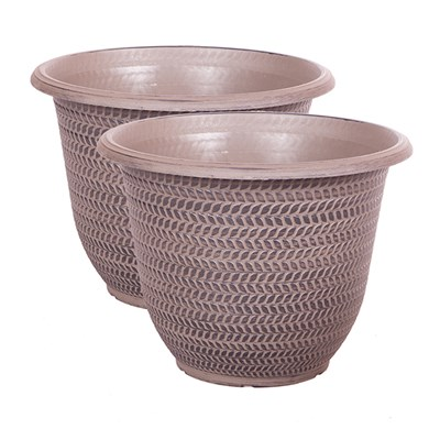 Pair of Parker with 16in Shaded Taupe Planters