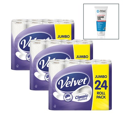 72 Rolls of Velvet 3ply Classic Quilted Toilet Tissue with 100ml Hand Gel Sanitiser
