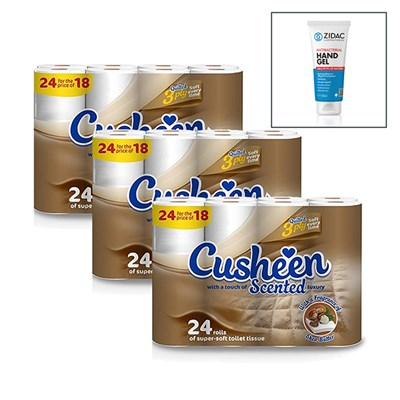 72 x Cusheen Shea 3ply Toilet Roll with 100ml Hand Gel Sanitiser