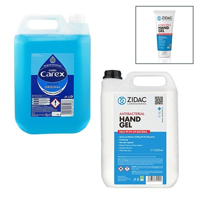 5L Carex Professional Original Hand Wash + 5ltrs Zidac 70% Hand Sanitiser Gel + 100ml Hand Gel Sanitiser
