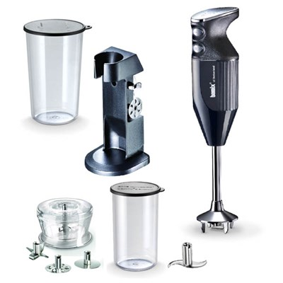 Bamix Deluxe with Blades, Dry Grinder and Stand, 400ml and 600ml Beakers with Lids