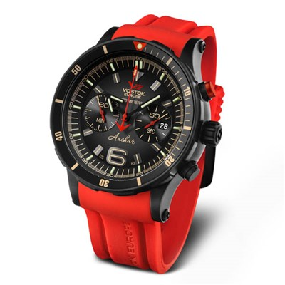 Vostok Europe Gents Anchar PVD Chronograph Dive Watch on Silicone Strap