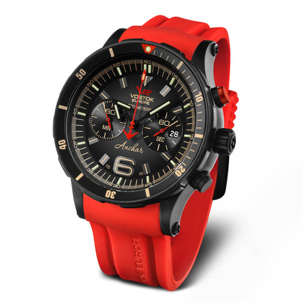 Vostok Europe Gents Anchar PVD Chronograph Dive Watch on Silicone Strap Red