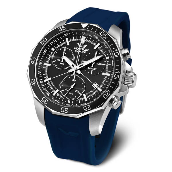 Vostok Europe Gents N1 Rocket Chronograph Watch on Silicone Strap Blue