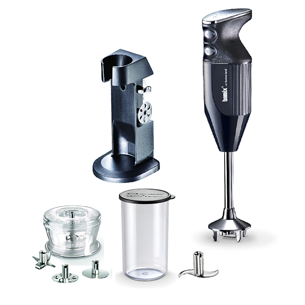 Bamix Deluxe with 4 x Blades, Dry Grinder and Stand and 400ml Beaker with Lid Black