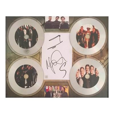 'Take That' Framed CD Montage Display Personally Signed by Members