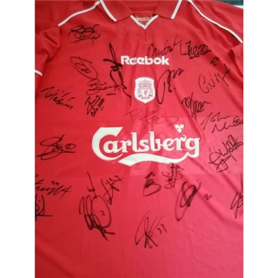 Liverpool FC 2001-2002 5 Cup Wins Record Season Celebration Shirt Multi Signed