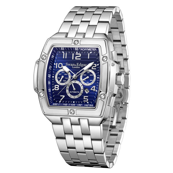 Swan & Edgar Gent's Ltd Ed Ambassador Watch with Stainless Steel Bracelet Blue
