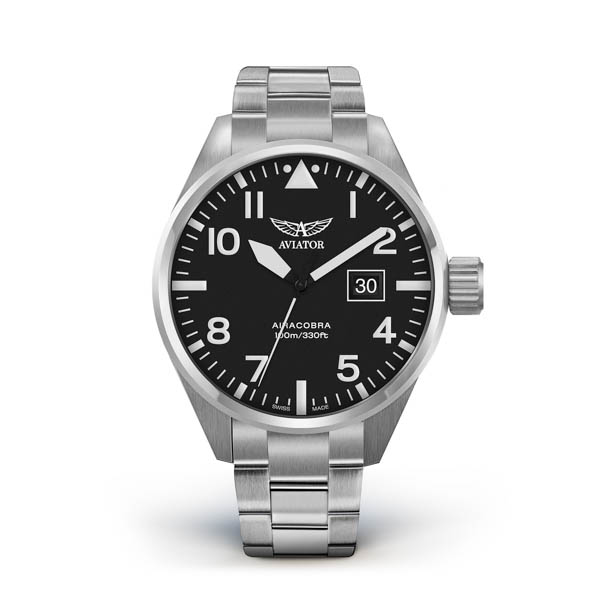 Aviator Gents Airacobra P-39 ETA Watch with Stainless Steel Bracelet and Additional Leather Strap Black
