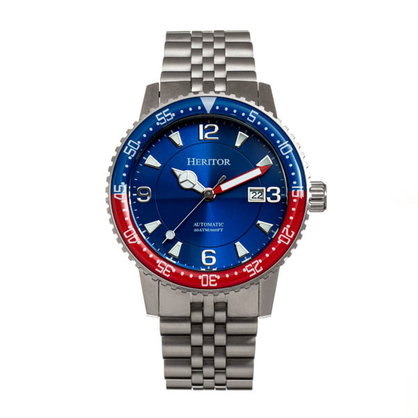 Heritor Gents Dominic Automatic Date Watch with Stainless Steel Bracelet Blue/Red