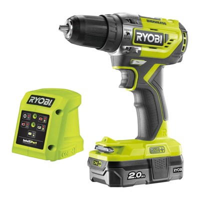 Ryobi 18v One+ Cordless Brushless Percussion Drill, 2Ah Battery and Charger