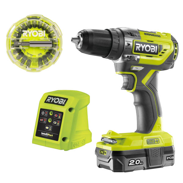 Ryobi 18v One+ Brushless Percussion Drill, Battery, Charger and 22 Bits Set No Colour