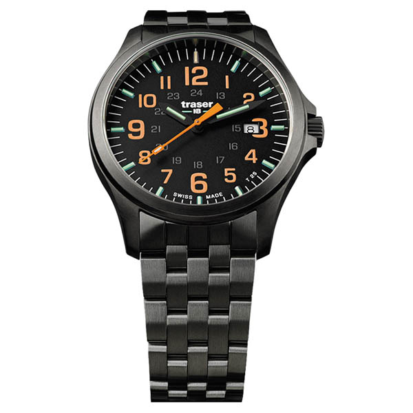 Image of Traser Gents Swiss Made P67 Officer Gun PVD Watch on Stainless Steel Bracelet