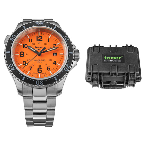 Image of Traser Gents Swiss Made P67 Super Sub T25 Watch on Stainless Steel Bracelet and Dry Box
