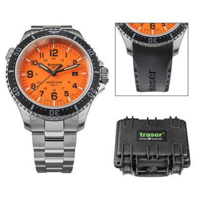 Traser Gents Swiss Made P67 Super Sub T25 Watch on Stainless Steel Bracelet, Dry Box and Extra Straps