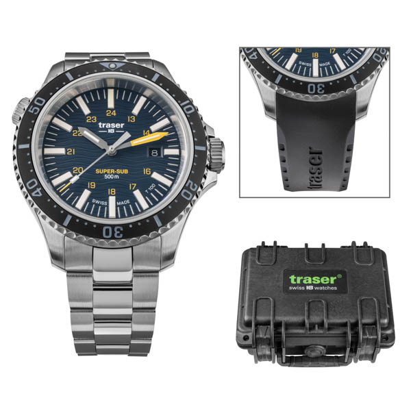 Traser Gents Swiss Made P67 Super Sub T100 Watch on Stainless Steel Bracelet, Dry Box and Extra Straps Blue