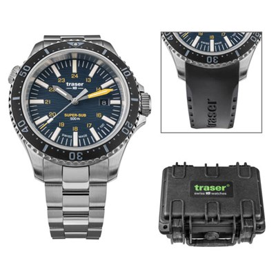 Traser Gents Swiss Made P67 Super Sub T100 Watch on Stainless Steel Bracelet, Dry Box and Extra Straps