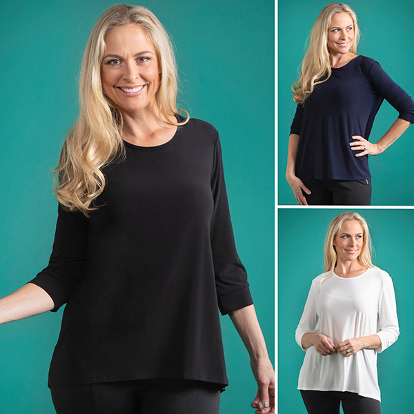 Kasara 3 Pack 3/4 Sleeve Top Black/Navy/Ivory