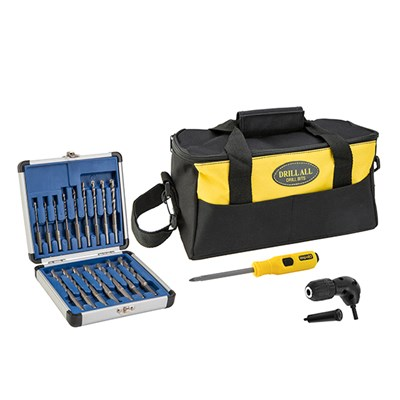16 Piece Drill Bit Set with Right Angle Chuck, Impact Screwdriver and Tool Bag