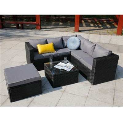 Vancouver 6 Seater Black Rattan Set