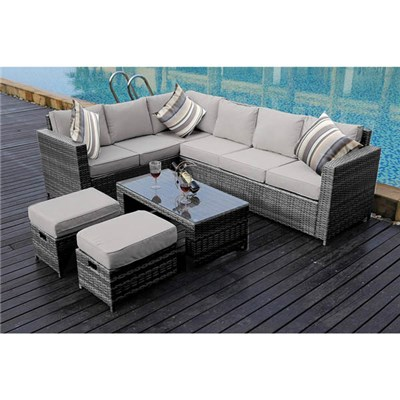 Barcelona 8-Seater Grey Rattan Set with Rain Cover