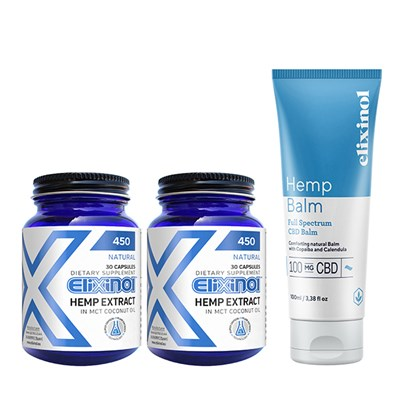 Elixinol CBD Hemp Oil 60 Capsules 900mg (2 x 30 caps) with Bonus Elixinol Hemp Balm (CBD 100mg)