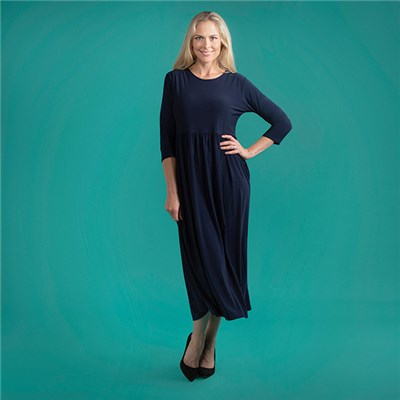 Kasara 3/4 Sleeve Maxi Dress with Pockets