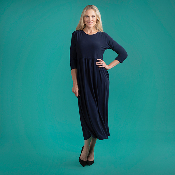 Kasara 3/4 Sleeve Maxi Dress with Pockets Navy