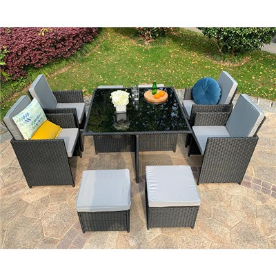 Eton Rattan Garden 8 Seater Cube Set In Black