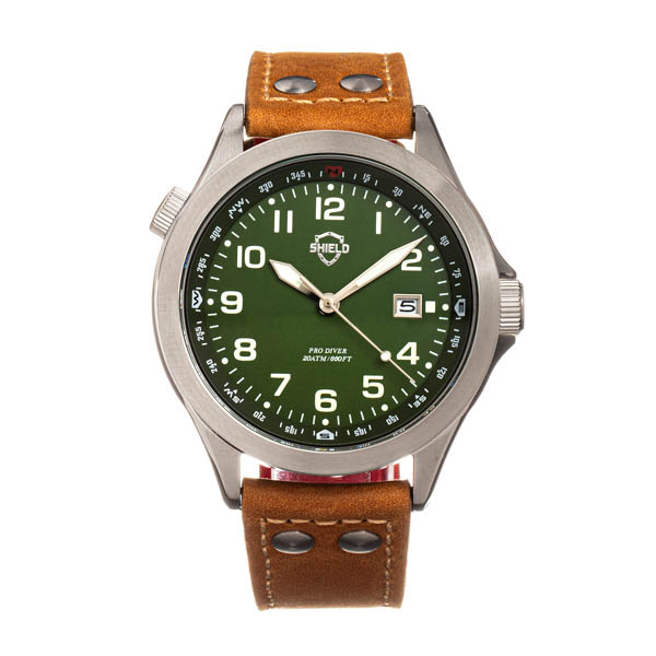 Shield Gents Palau Watch with Genuine Leather Strap Green