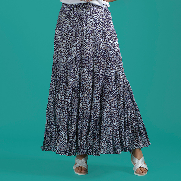Mudflower Print Gypsy Maxi Skirt Navy