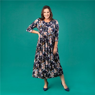 Kasara 3/4 Sleeve Oriental Print Maxi Dress with Pockets