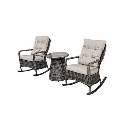 Pair of Rattan Rocking Chairs with Small Table