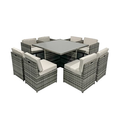 9-Piece Rattan Table Set with 8 Chairs