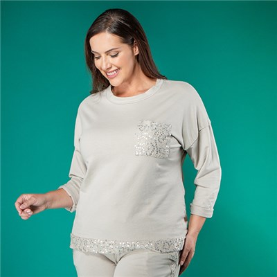Nabella Sequin Pocket Top
