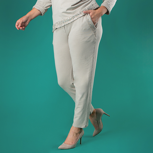 Nabella Sequin Trim Trouser Soft Beige