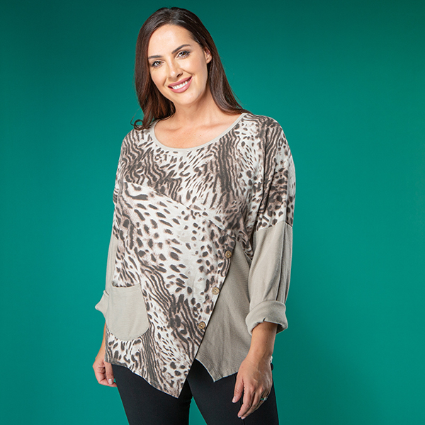 Nabella Animal Print Asymetric Pocket Top Beige