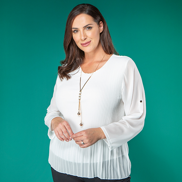 Nabella Pleat Chiffon Top with Necklace Ivory