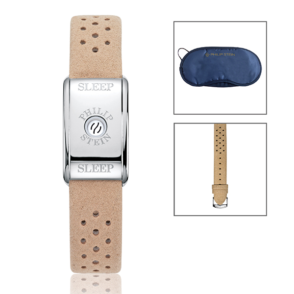 Philip Stein Classic Sleep Bracelet with S/S Case and Camel Strap, with 2 Extra Straps and Free Eye Mask Camel