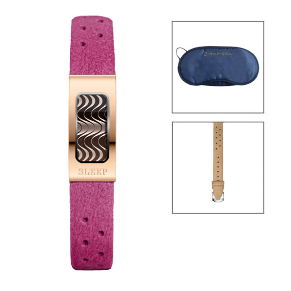 Philip Stein Slim Rose Gold Sleep Bracelet with Sea Blue Strap with 2 Extra Camel Straps and Free Eye mask Purple Strap