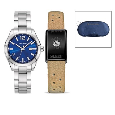 Philip Stein Day/Night 1 Watch & Bracelet Set - Blue Traveler Watch with S/S strap and Classic Sleep Bracelet with Camel Strap and Free Eye Mask