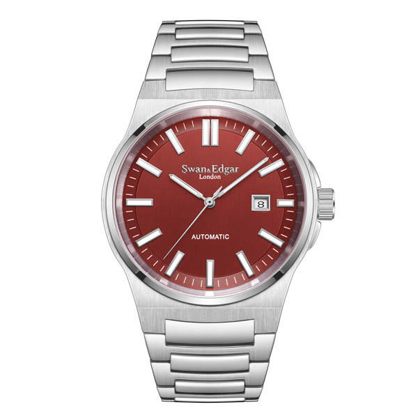 Swan and Edgar Gents Ltd Ed Elegance Automatic Watch with Stainless Steel Bracelet Red