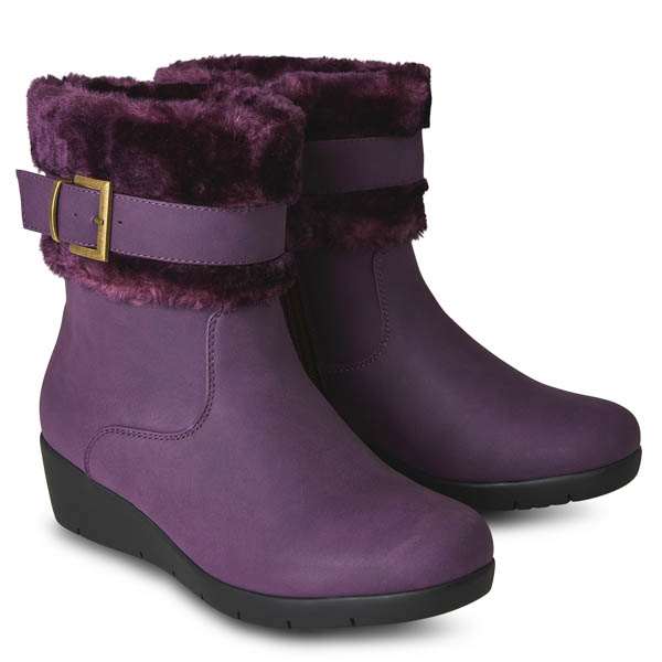 Joe Browns Autumn Berries Wedge Boots Plum