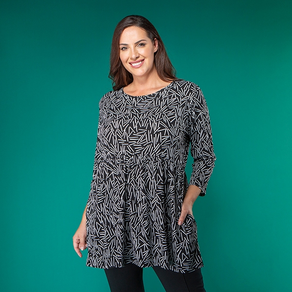Nicole Print 3/4 Sleeve Pocket Top Black/White