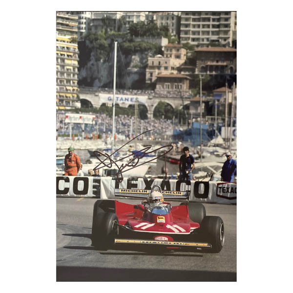 Jody Scheckter Action Photo Personally Signed No Colour