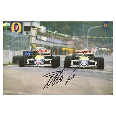 Nelson Piquet Action Photo Personally Signed