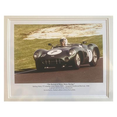 TT Winning Car, Goodwood Revival 1998 Signed Double Mounted Photo Art Print Ltd Edition 250