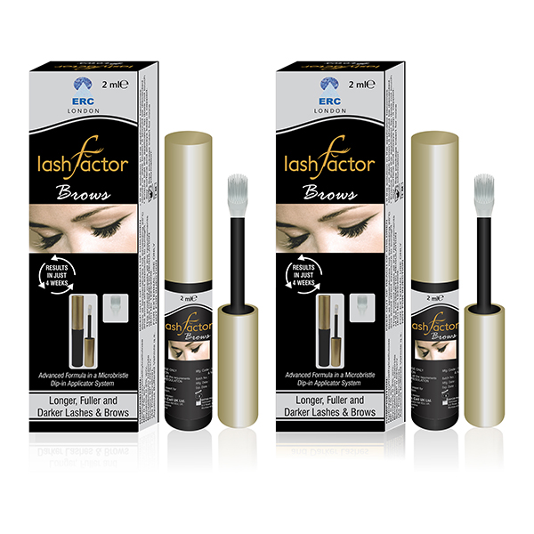 Lashfactor Eyelash and Eyebrows Rapid Growth Solution Twin Pack 2 - 1-Month Supply No Colour