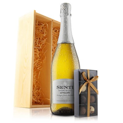 Prosecco and Chocolates in Wooden Gift Box